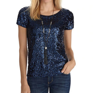 WHBM Short Sleeve Sequin Knit Boxy Top NWOT